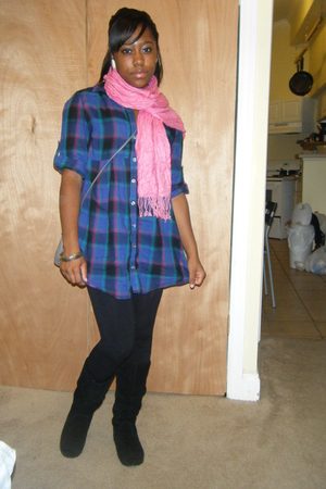New York and Company shirt - unknown scarf - Steve Madden boots - thrifted purse