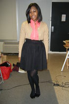 beige cardigan - pink blouse - black skirt - black tights - black shoes - gold a