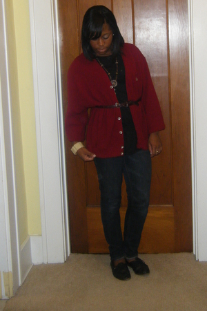 red IZOD sweater - black unknown shirt - blue PacSun jeans - black thrifted shoe