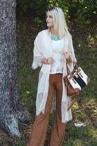 camel Ooberswank pants - cream lace Lulus cardigan
