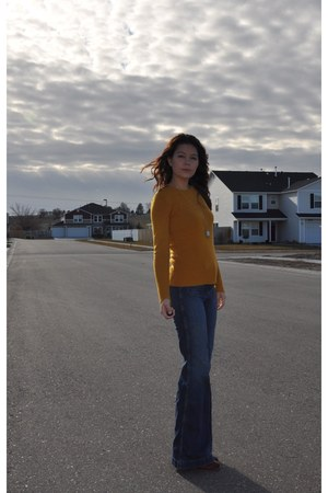 mustard J Crew sweater - brown Russel & Bromley boots - navy J Brand jeans