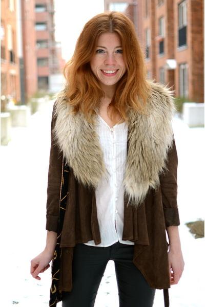 H&M scarf - Zara jacket - H&M pants - Mango blouse