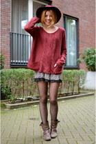 Brandy Meiville skirt - Zara boots - H&M hat - Only sweater