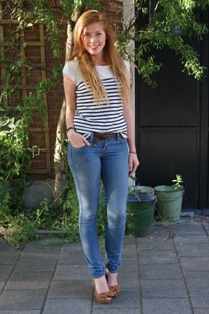 H&M jeans - vintage top - Zara heels