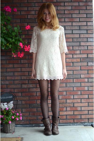 Zara boots - H&M dress