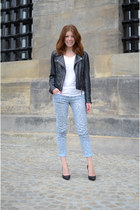 Kopenhagen jacket - Saint Tropez jeans - we shirt - Nelly heels