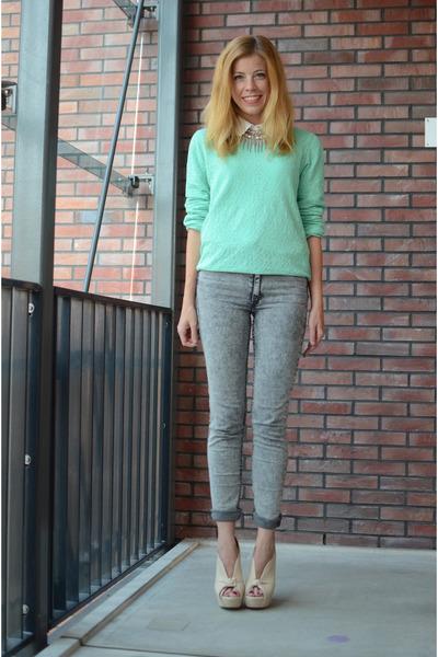 silver H&M jeans - aquamarine H&M sweater - beige River Island heels