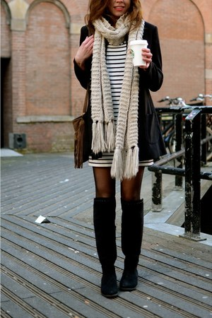van haren boots - vintage dress - H&M jacket