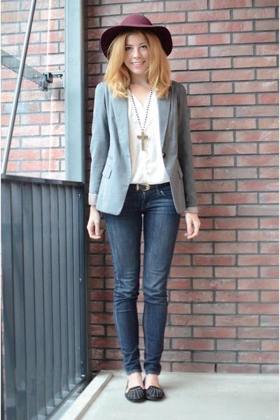 H&M hat - H&M jeans - Bershka blazer - Mango blouse - new look flats