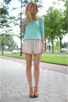 H&M sweater - H&M shorts - Bershka heels