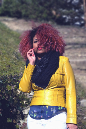 yellow leather vintage jacket - black H&M scarf - silk Zara blouse