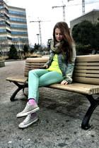 pastel Aldo socks - neon Forever 21 shirt - faux fur vintage scarf