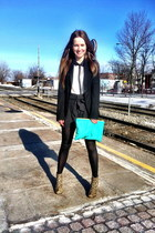 American Apparel bag - Jeffrey Campbell boots - Zara blazer - H&M shorts