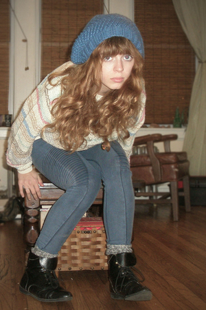 blue H&M jeans - black thrifted boots - blue knitted by my mother hat