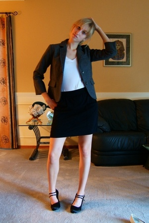garage shirt - American Apparel skirt - joe fresh style blazer - joe fresh style