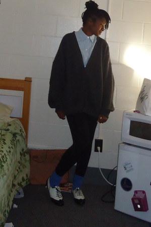 gray cardigan - white shoes - blue socks - sky blue blouse