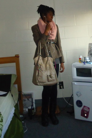 light brown blazer - light pink H&M scarf - camel bag - black belt