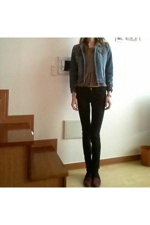 peplum Forever 21 blouse - hm jeans - denim Forever 21 jacket