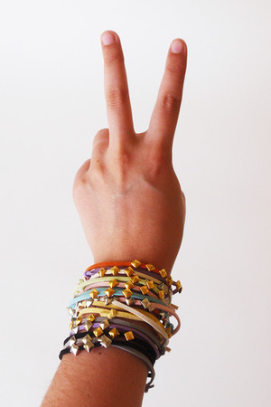 pink five and two bracelet - orange five and two bracelet - yellow five and two