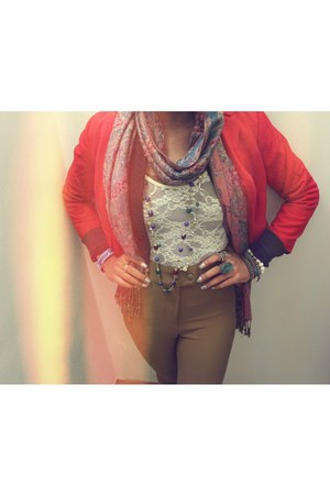 accessories - blazer - scarf - lace bodysuit - high waisted pants