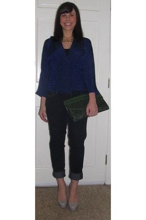 blue vintage blazer - navy Paige Denim jeans - green TJMaxx bag