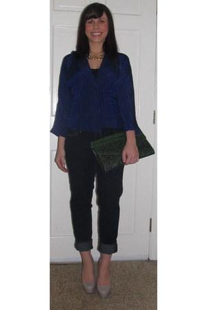 blue vintage blazer - navy Paige Denim jeans - green TJMaxx bag