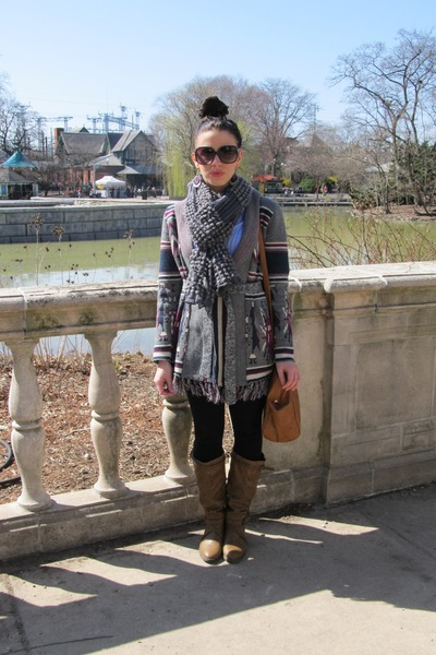 bronze LEI boots - charcoal gray Forever 21 sweater - light blue H&M shirt - cha