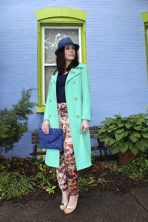 aquamarine vintage coat coat - blue Target hat - blue Target bag - gold heels