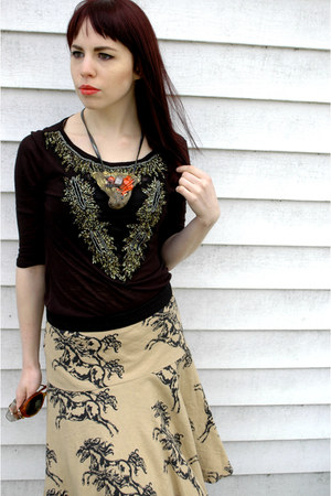 Anthropologie skirt - ecote shirt - Nine West heels - Adina Mills necklace