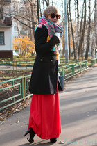 orange no brand scarf - black carlo pazolini boots - navy Pinko coat
