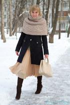 navy Pinko coat - ruby red Salvatore Ferragamo boots - eggshell Pinko scarf