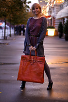 orange Sandal Shop bag - maroon Massimo Dutti dress
