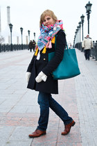 teal Prada bag - navy Pinko coat - blue Dsquared2 jeans - orange no brand scarf