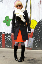 navy Pinko coat - black carlo pazolini boots - carrot orange Mango dress