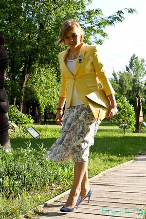 light yellow Zara jacket - blue Miu Miu shoes - light yellow asos bag