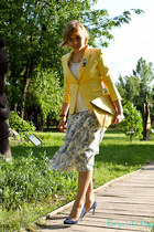 light yellow Zara jacket - blue Miu Miu shoes - light yellow asos bag