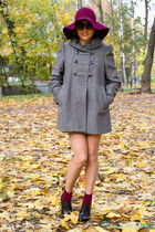 black Topshop boots - silver French Connection coat - maroon H&M hat
