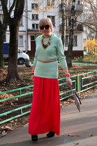 red Reiss skirt - aquamarine JCrew sweater - silver Boris Rimar bag
