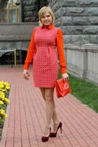 maroon Prada shoes - red asos dress - carrot orange Zara bag