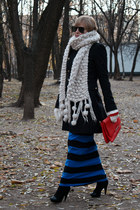 ivory Zara scarf - blue asos dress - navy Pinko coat - red Zara bag
