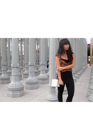 vintage top - vintage dress - American Apparel leggings - Chanel purse - vintage