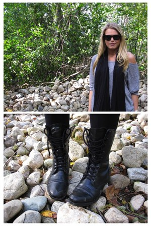 black Charlotte Russe boots - black Forever 21 leggings - black Converse scarf