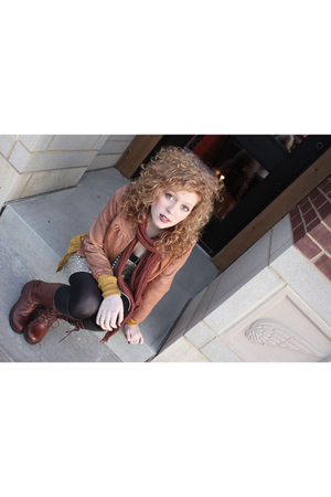gold Targetet sweater - brown miz mooz boots - gold free people dress
