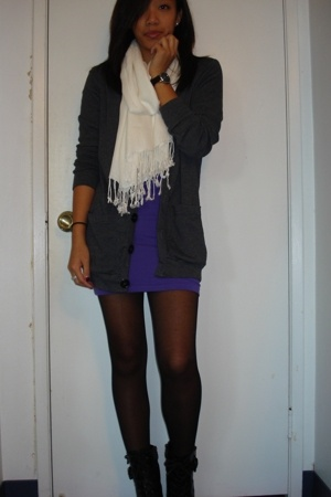 H&M scarf - American Apparel sweater - American Apparel dress - guess by marcian