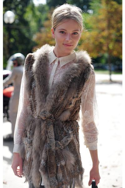 light brown fur vest vest - cream lace blouse blouse
