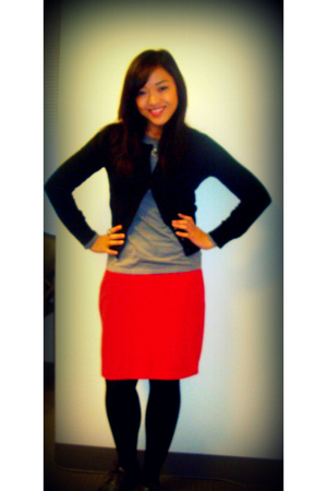 thrifted skirt - Macys cardigan - Forever21 shoes - Forever21 accessories - cook