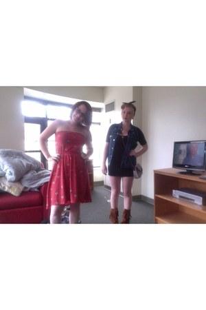 Minnetonka boots - Target dress - Target dress - TOMS flats - Levi vest