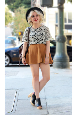 corduroy tan American Apparel skirt - Nasty Gal bag