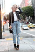 white cropped American Apparel top - Zara pants
