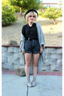 High-waist-grey-american-apparel-shorts-american-apparel-cardigan